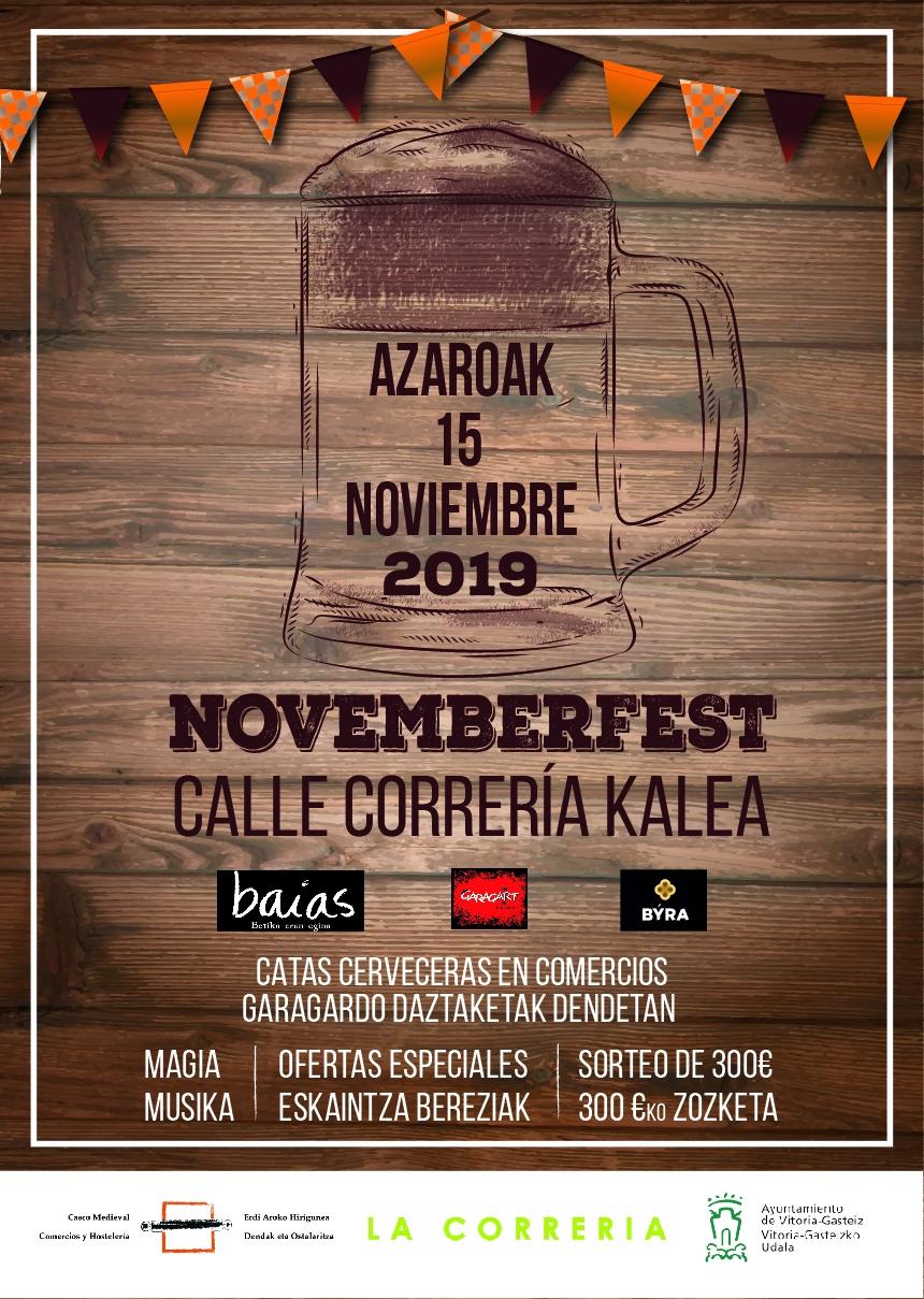 'Novemberfest' convertirá este viernes las calles Correría y Mateo de Moraza en la fiesta de la cerveza artesana alavesa