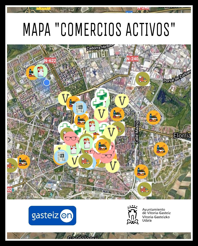 Mapa interactivo para localizar los comercios cercanos