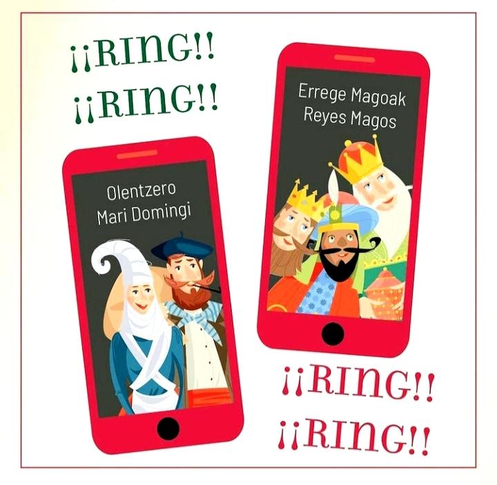 Recibe la llamada de Olentzero y los Reyes Magos
